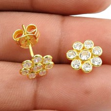 Gold Plated 925 Sterling Silver White CZ Gemstone Earring Stylish Jewelry S17