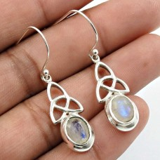 Rainbow Moonstone Gemstone Earring 925 Sterling Silver Traditional Jewelry N19