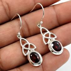 Garnet Gemstone Earring 925 Sterling Silver Ethnic Jewelry O19
