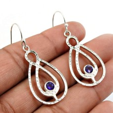 Amethyst Gemstone Earring 925 Sterling Silver Indian Handmade Jewelry U19