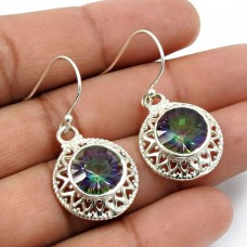 Mystic Gemstone Earring 925 Sterling Silver Vintage Jewelry W19