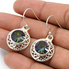Mystic Gemstone Earring 925 Sterling Silver Traditional Jewelry X19