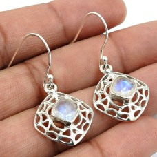 Rainbow Moonstone Gemstone Earring 925 Sterling Silver Handmade Indian Jewelry F20