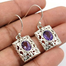 Amethyst Gemstone Earring 925 Sterling Silver Indian Jewelry N20