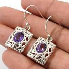 Amethyst Gemstone Earring 925 Sterling Silver Indian Handmade Jewelry O20