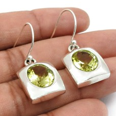 Lemon Topaz Gemstone Earring 925 Sterling Silver Vintage Look Jewelry T20