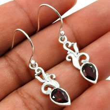 Garnet Gemstone Earring 925 Sterling Silver Ethnic Jewelry C21