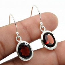 Garnet Gemstone Earring 925 Sterling Silver Traditional Jewelry L21