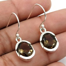 Smoky Quartz Gemstone Earring 925 Sterling Silver Indian Jewelry R21