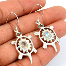 Turtle Earring Rainbow Moonstone Gemstone 925 Sterling Silver Indian Handmade Jewelry S21