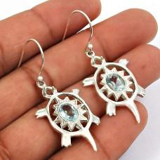 Blue Topaz Gemstone Turtle Earring 925 Sterling Silver Handmade Indian Jewelry T21