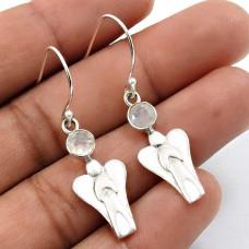 Rainbow Moonstone Gemstone Earring 925 Sterling Silver Indian Jewelry B22