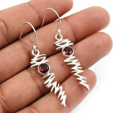 Garnet Gemstone Earring 925 Sterling Silver Indian Handmade Jewelry M22