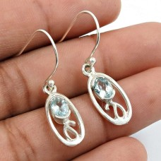 Blue Topaz Gemstone Earring 925 Sterling Silver Stylish Jewelry S22