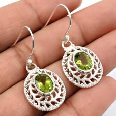 Peridot Gemstone Earring 925 Sterling Silver Ethnic Jewelry K23