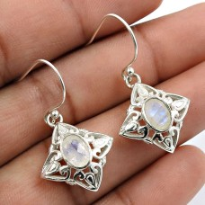 Rainbow Moonstone Gemstone Earring 925 Sterling Silver Handmade Indian Jewelry R23