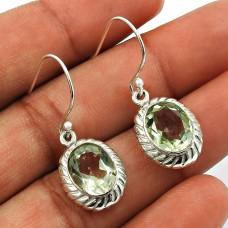 Green Amethyst Gemstone Earring 925 Sterling Silver Ethnic Jewelry E24