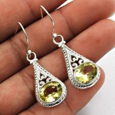 Lemon Topaz Gemstone Earring 925 Sterling Silver Vintage Look Jewelry F24
