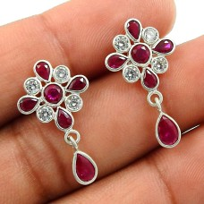 Ruby CZ White CZ Gemstone Earring 925 Sterling Silver Stylish Jewelry G24