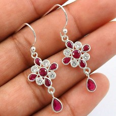 Ruby CZ White CZ Gemstone Earring 925 Sterling Silver Handmade Indian Jewelry F25