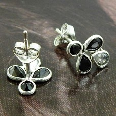 Black CZ White CZ Gemstone Earring 925 Sterling Silver Tribal Jewelry V25