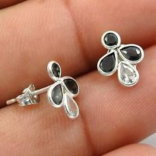 Black CZ White CZ Gemstone Earring 925 Sterling Silver Handmade Jewelry W25