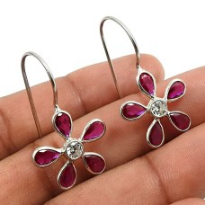 Ruby CZ White CZ Gemstone Earring 925 Sterling Silver Stylish Jewelry Y26