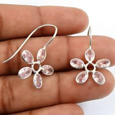 HANDMADE 925 Sterling Silver Jewelry Oval Shape Pink Cz Gemstone Earrings K9