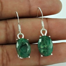Sterling Silver Jewellery High Polish Emerald Gemstone Earrings