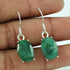 925 Sterling Silver Jewellery Fashion Emerald Gemstone Earrings Wholesaler India