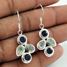 Sterling Silver Jewellery Traditional Rainbow Moonstone, Iolite Gemstone Earrings