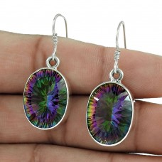 925 Sterling Silver Gemstone Jewellery Charming Mystic Topaz Gemstone Earrings Exporter