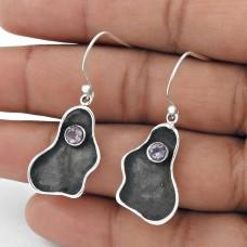 925 Sterling Silver Jewellery High Polish Amethyst Gemstone Earrings