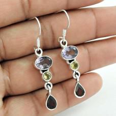 Sterling Silver Fashion Jewellery High Polish Amethyst, Citrine, Garnet Gemstone Earrings
