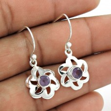 Indian Sterling Silver Jewellery Fashion Amethyst Gemstone Flower Earrings