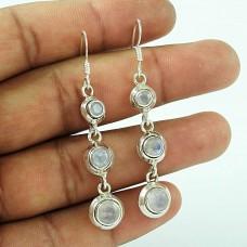 925 Sterling Silver Antique Jewellery High Polish Rainbow Moonstone Gemstone Earrings