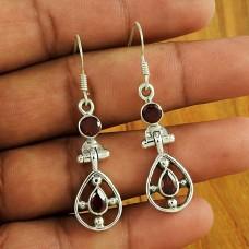 925 Sterling Silver Vintage Jewellery Fashion Garnet Gemstone Earrings