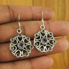 925 Sterling Silver Gemstone Jewellery Trendy Amethyst Gemstone Earrings