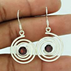 925 Sterling Silver Fashion Jewellery Charming Garnet Gemstone Earrings