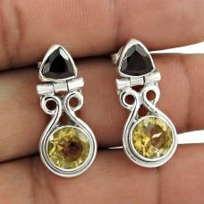 Classic 925 Sterling Silver Garnet & Citrine Gemstone Earring Jewellery