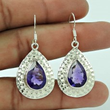 925 Silver Jewellery High Polish Amethyst Gemstone Earrings Exporter