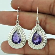 925 Sterling Silver Jewellery Charming Amethyst Gemstone Earrings Wholesaler