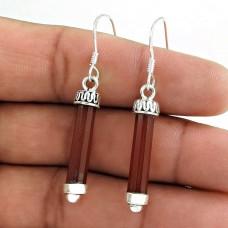 925 Silver Jewellery Beautiful Carnelian Gemstone Pencil Earrings