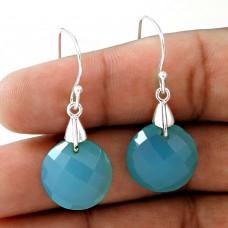 925 Sterling Silver Vintage Jewellery Fashion Chalcedony Gemstone Earrings