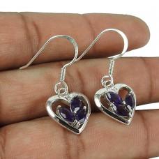Engaging 925 Sterling Silver Amethyst Gemstone Heart Earrings