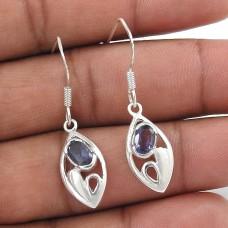 Perfect 925 Sterling Silver Iolite Gemstone Earrings