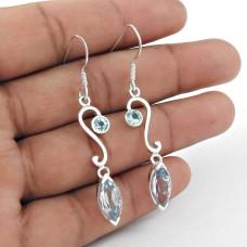 Scrumptious 925 Sterling Silver Blue Topaz Gemstone Dangle Earrings