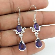 Classic 925 Sterling Silver Amethyst Gemstone Earrings