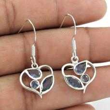 Pretty 925 Sterling Silver Iolite Gemstone Earrings