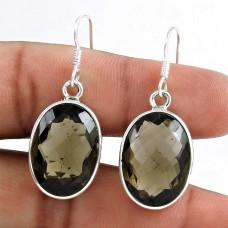 925 Sterling Silver Jewellery Charming Smoky Quartz Gemstone Earrings Exporter